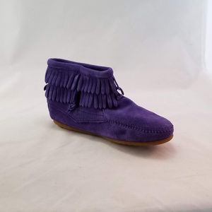 Minnetonka Double Fringe Side Zip Boot- Purple